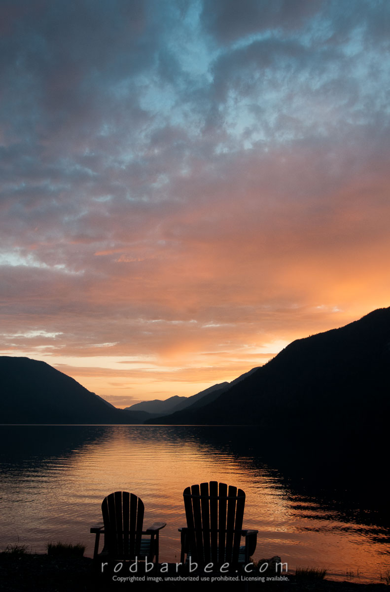 Barbee_120719_3_6853 |  Adirondack chairs on the shore of Lake Crescent, sunset