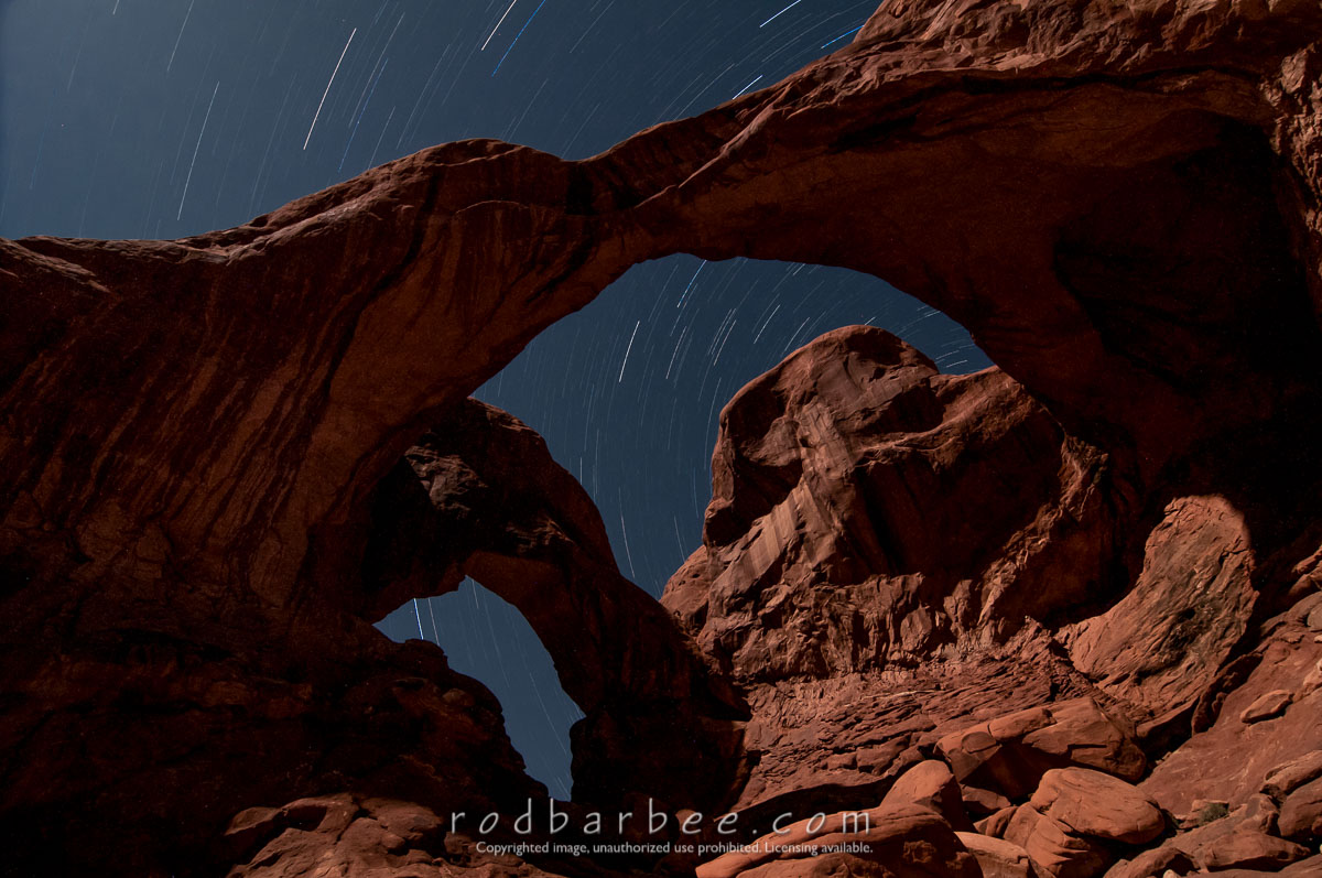 Barbee_130420_3_1392-star-trail |  Double Arch at night. Star trails