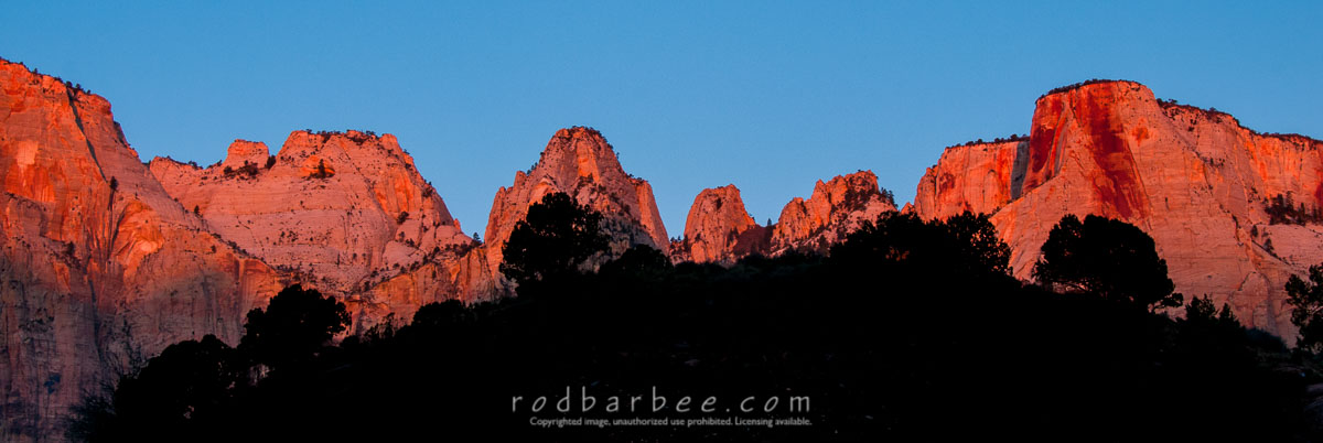 Barbee_131103_3_3633 |  Silhouettes at sunrize, Temple of the Virgin, Zion National Park, UT