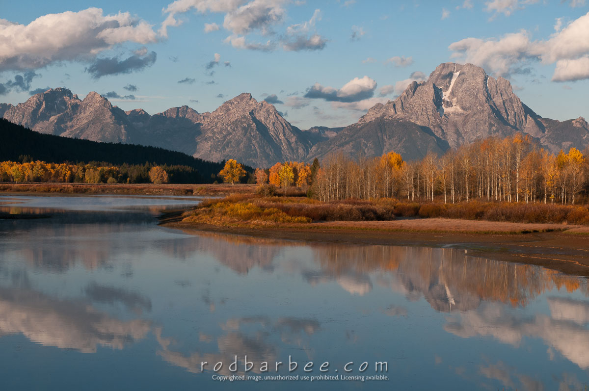 Barbee_101007_3_5719 |  Oxbow Bend of the Snake River with Mt. Moran and Teton Range.
