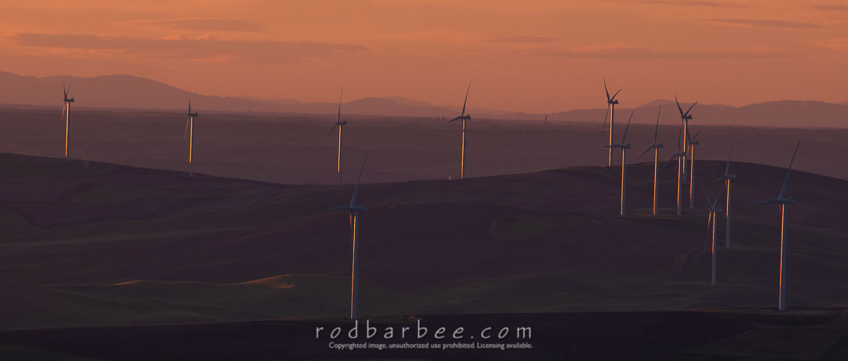 Barbee_140624_3_4923 |  Wind turbines north of Steptoe Butte as see from the top of Steptoe Butte at sunset