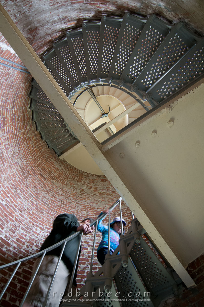 Barbee_110819_3_2954 |  Looking up into the lighthouse tower, Cape Blanco Lighthouse, Cape Blanco State Park, Port Orford, OR
